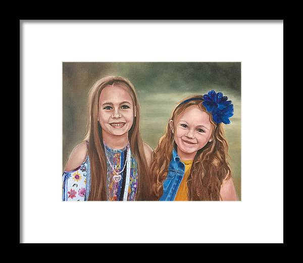 Girls Framed Print featuring the painting Sisters by Elvie Becker