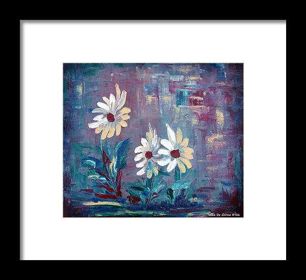 Daisies Framed Print featuring the painting Sisters by Gina De Gorna