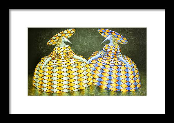 Hat Framed Print featuring the painting Sisters by Lolita Bronzini