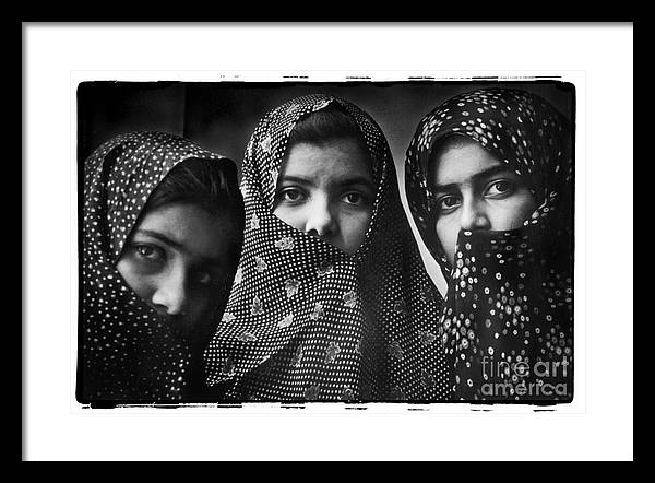 Iran Framed Print featuring the photograph Sisters, Mashhad, Iran 1977 by Michael Ziegler
