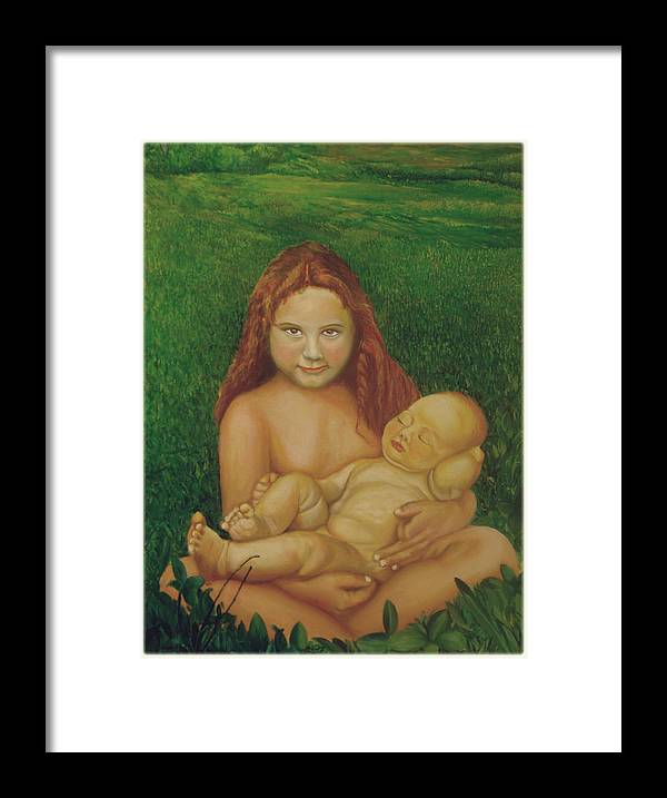 Figure Artwork Framed Print featuring the painting Sisters Of Mine by Ibrahim Rahma