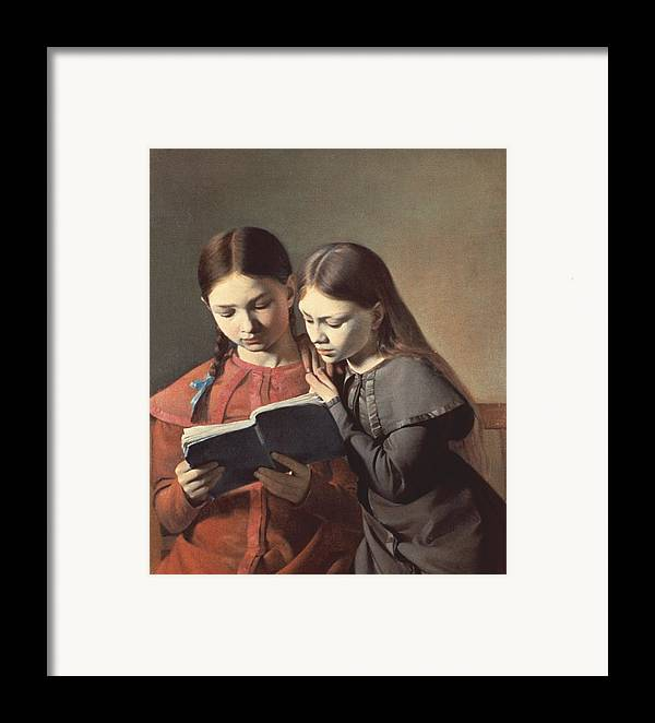 The Framed Print featuring the painting Sisters Reading A Book by Carl Hansen