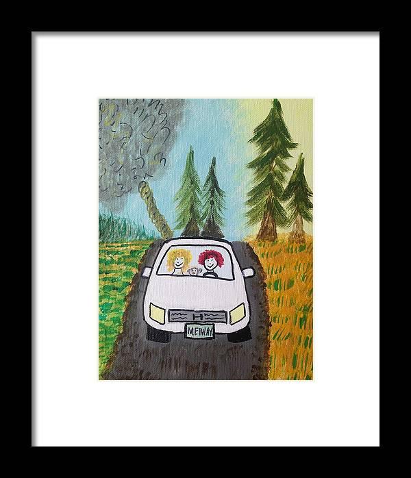 Sisters Framed Print featuring the painting Sisters Road Trip by Deborah Mattas