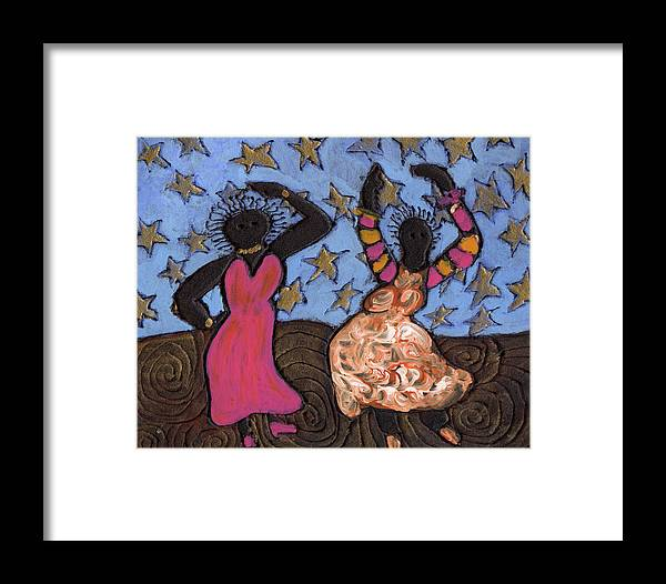 Folk Art Framed Print featuring the painting Sisters Sarah Sue And Sally Mae Swinging The Night Away by Wayne Potrafka