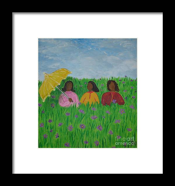 Sisters Framed Print featuring the painting Sisters Talk by Sheila J Hall