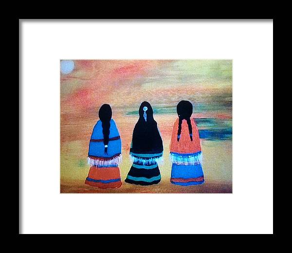 Cherokee Framed Print featuring the painting Sisters by Terri Smith Asbury