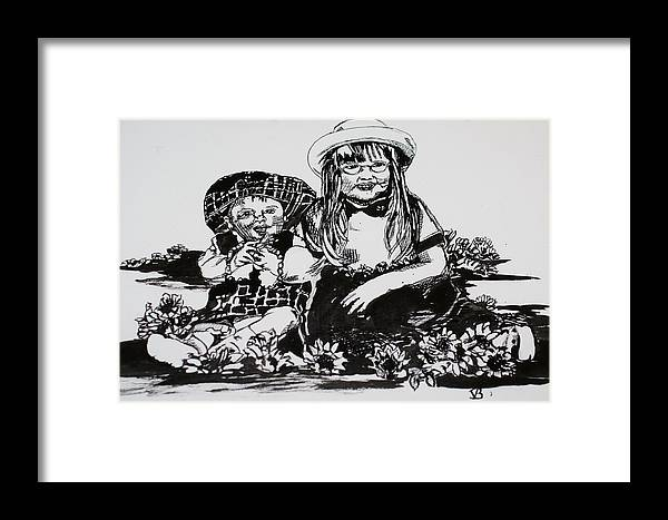 Girls Framed Print featuring the drawing Sisters by Vickie Brooks