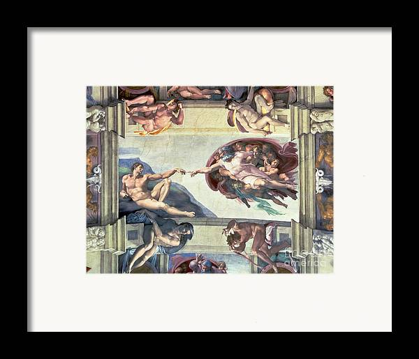 Sistine Framed Print featuring the painting Sistine Chapel Ceiling Creation Of Adam by Michelangelo