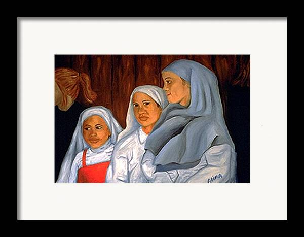 Portrait Framed Print featuring the painting Sit Up Straight Girls by Alima Newton