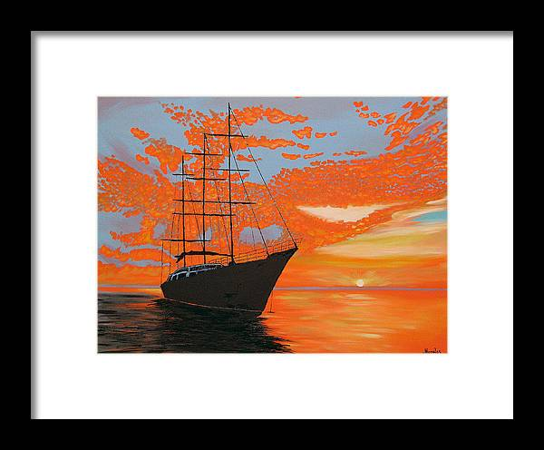 Seascape Framed Print featuring the painting Sittin' On The Bay by Marco Morales
