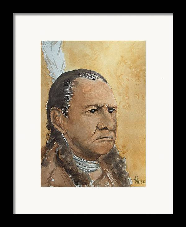 American Indian Framed Print featuring the painting Sitting Bull by Pete Maier