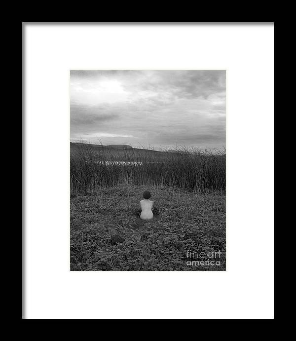 Nude Framed Print featuring the photograph Sitting Nude-nevada by Christian Slanec