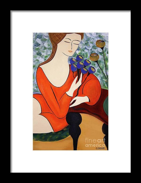 #female #figurative #floral #fineart #art #images #painting #artist #print #canvas #sittingwomen Framed Print featuring the painting Sitting Women by Jacquelinemari