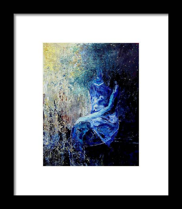 Woman Girl Fashion Framed Print featuring the painting Sitting Young Girl by Pol Ledent