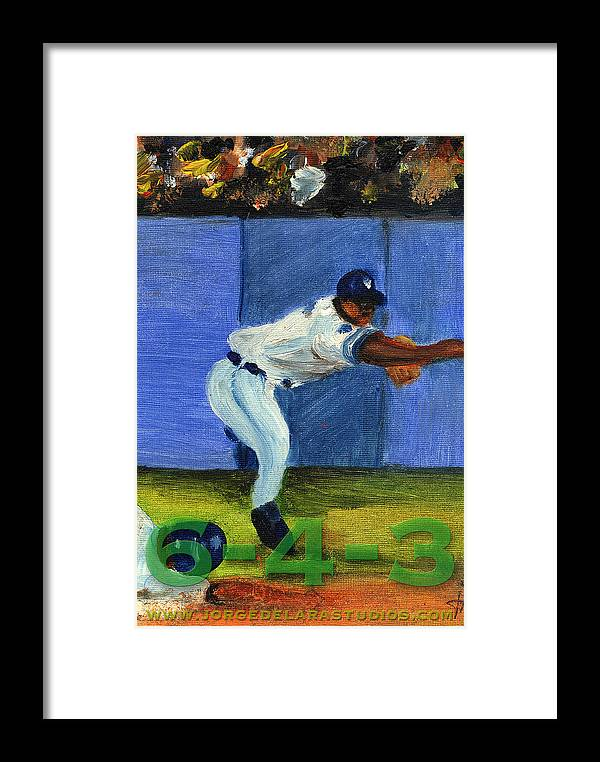 Pitchers Framed Print featuring the painting Six-4-three by Jorge Delara