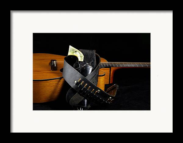 Guitar Framed Print featuring the photograph Six Gun And Guitar On Black by M K Miller