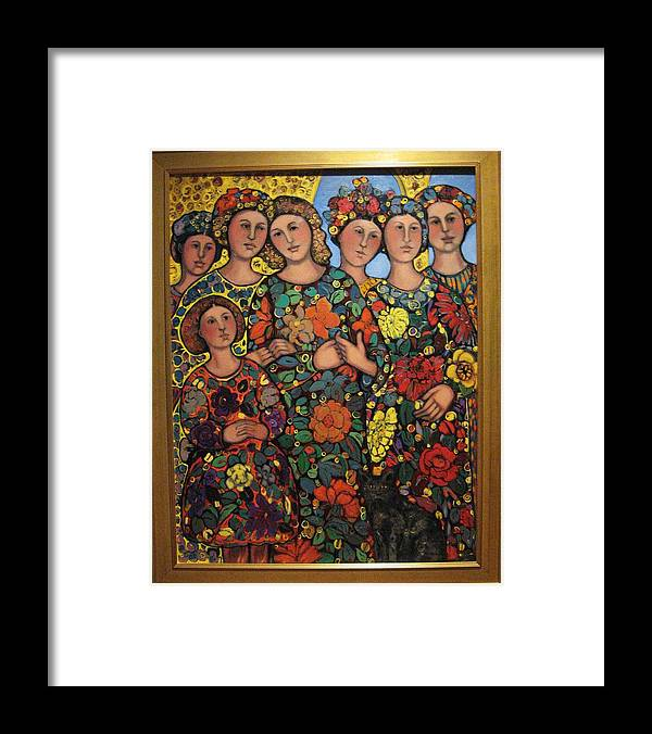 Women Framed Print featuring the painting Six Women Girl And Cat by Marilene Sawaf