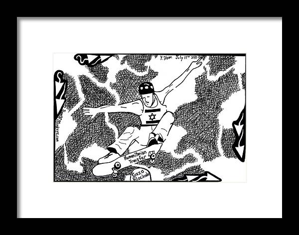 Maze Framed Print featuring the drawing Skateboard Political Maze Cartoon By Yonatan Frimer by Yonatan Frimer Maze Artist