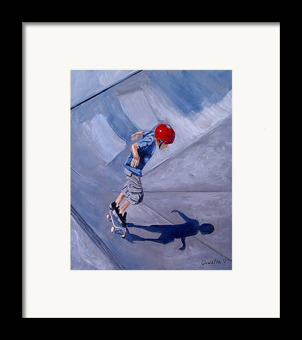 Boy Framed Print featuring the painting Skateboarding by Quwatha Valentine