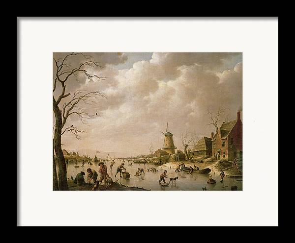 Skaters Framed Print featuring the painting Skaters On A Frozen Canal by Hendrik Willem Schweickardt