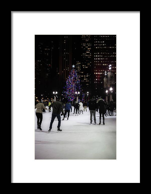 Framed Print featuring the photograph Skating By The Tree by Sue Conwell