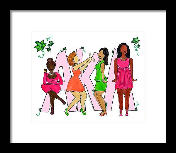 alpha Kappa Alpha Framed Print featuring the drawing Skee Wee My Soror by Diamin Nicole