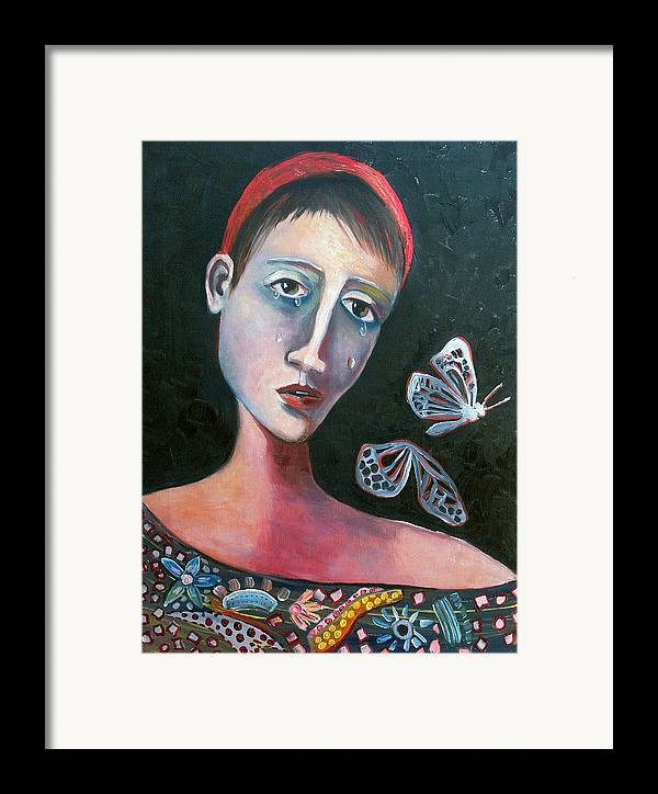 Butterfly Girl Red Sad Crying Pinks Reds Blues Framed Print featuring the painting Skeleton Butterfly by Niki Sands