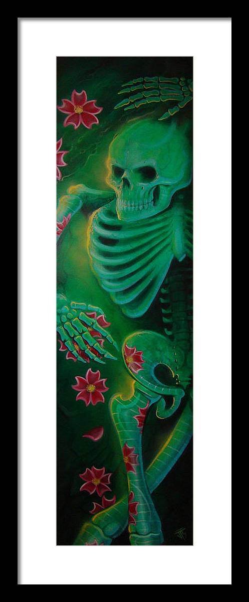Body Framed Print featuring the painting Skeleton Charm by Joshua South