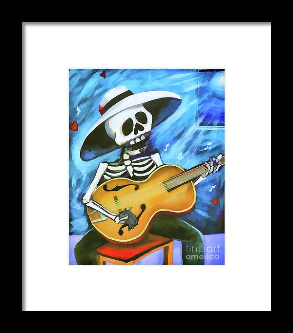 Dia De Los Muertos Framed Print featuring the photograph Skeleton Guitar Day Of The Dead by Chuck Kuhn