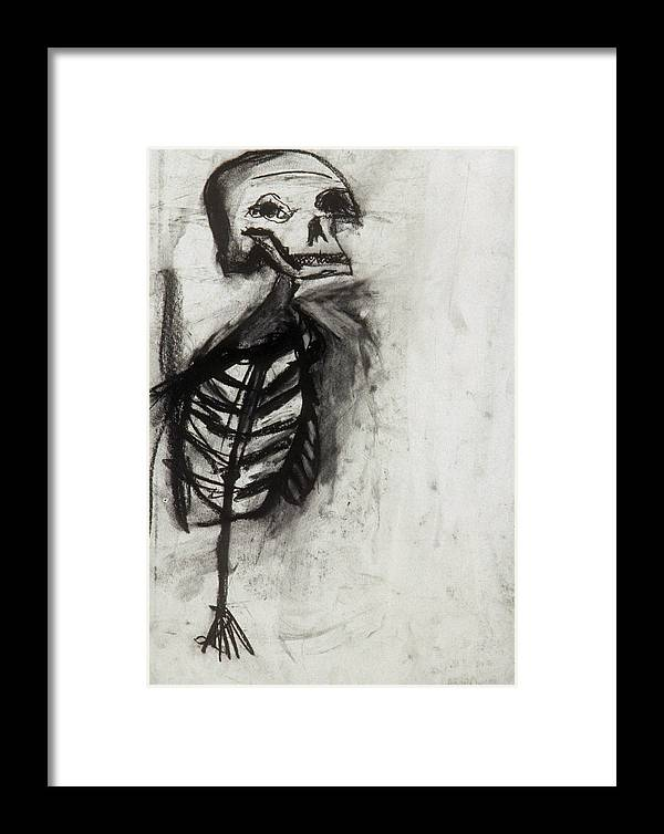 Charcoal Framed Print featuring the drawing Skeleton Study by Jamie Wooten