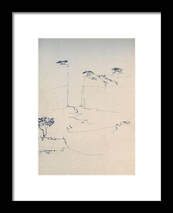 J Kamaru Framed Print featuring the digital art Sketch 1 - Pen And Ink Australian Landscape by Joan Kamaru
