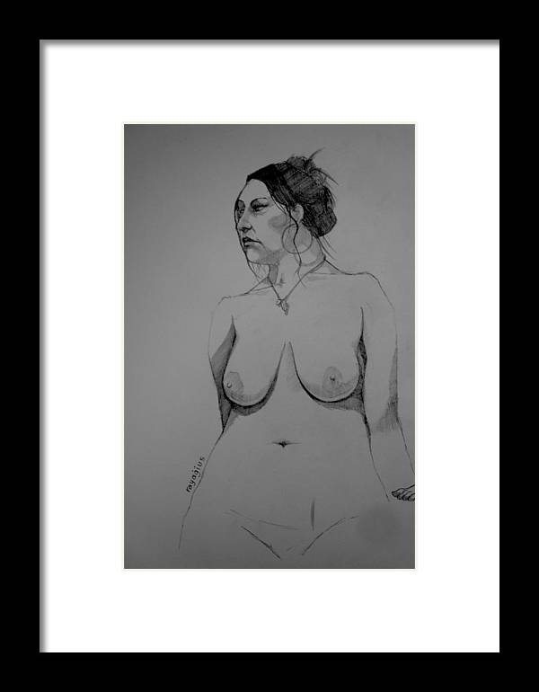 Hollie Framed Print featuring the drawing Hollie In Pencil IIi by Ray Agius