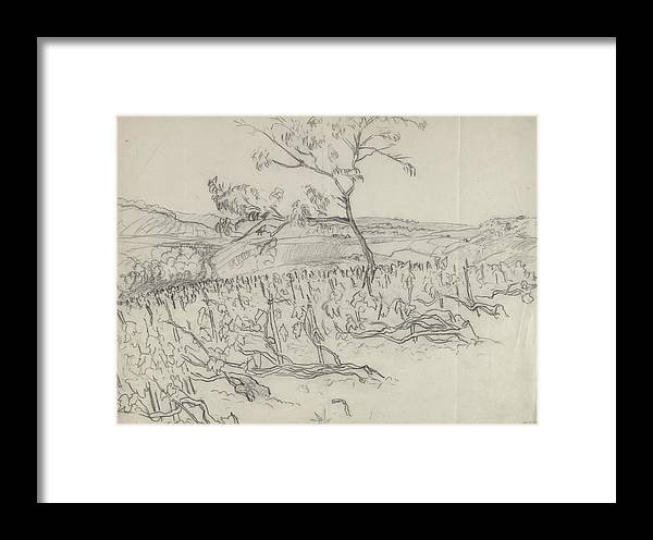 Agriculture Framed Print featuring the digital art Sketch Of Vineyard by Carl Oscar August Erickson