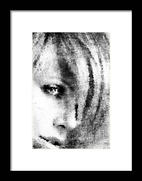 Sketch Framed Print featuring the digital art Sketched Charlize by Andrea Barbieri