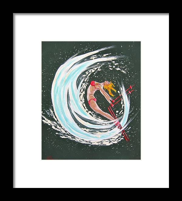 Abstract Sports Framed Print featuring the painting Ski Bunny by V Boge