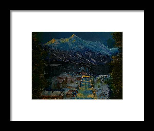 Winter Framed Print featuring the painting Ski Resort by Stephen King