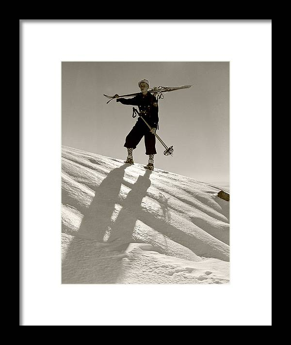 Skiing Framed Print featuring the photograph Skier by Unknown
