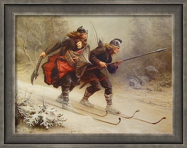Skiing Birchlegs Crossing the Mountain with the Royal Child by Knud Bergslien