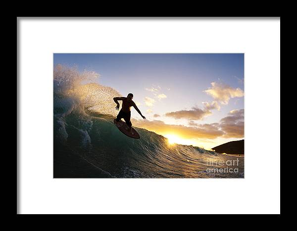 Action Framed Print featuring the photograph Skimboarding At Sunset I by MakenaStockMedia - Printscapes