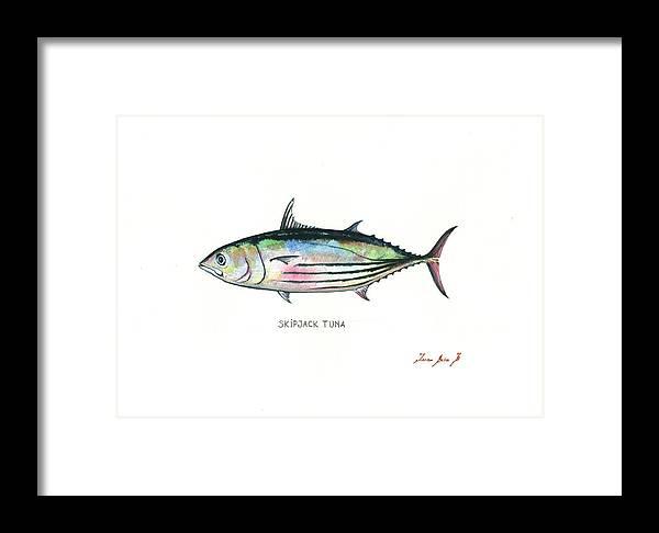Tuna Fish Framed Print featuring the painting Skipjack Tuna by Juan Bosco