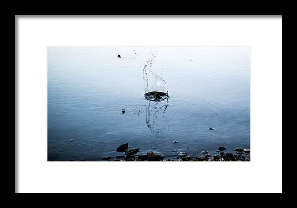 Water Framed Print featuring the photograph Skipping Rock by Josiah Parker
