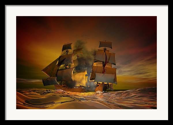 Sea Framed Print featuring the digital art Skirmish by Carol and Mike Werner
