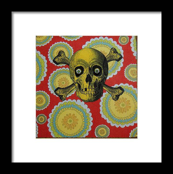 Skull Framed Print featuring the photograph Skull And Cross2 by Kendal Q