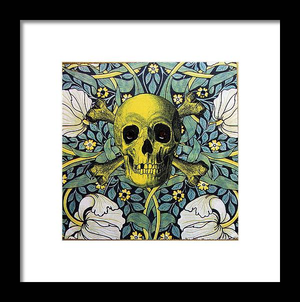 Skull Framed Print featuring the mixed media Skull And Cross4 by Kendal Q