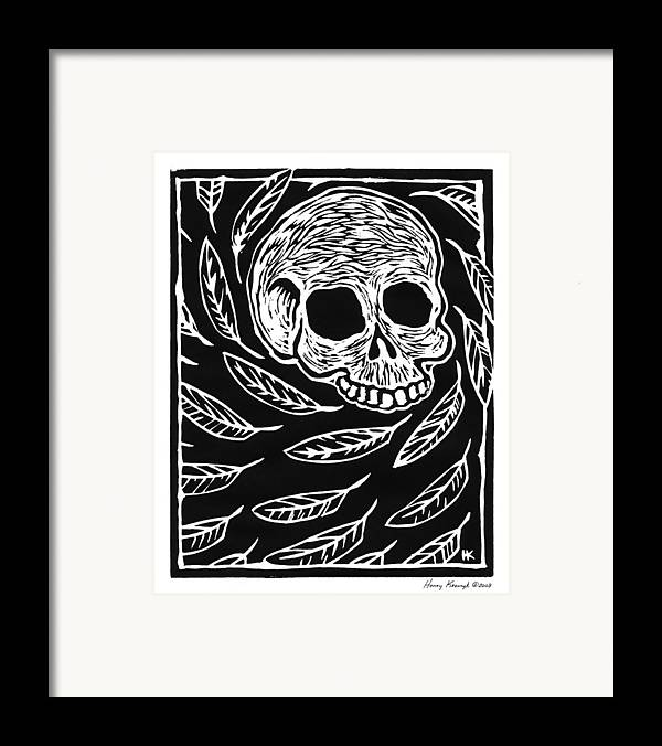 Krauzyk Framed Print featuring the print Skull And Feathers by Henry Krauzyk