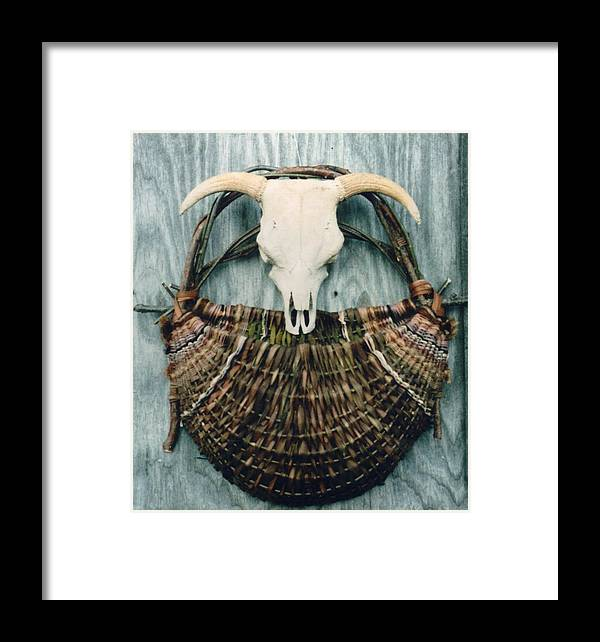 Wall Basket Framed Print featuring the mixed media Skull Basket by Stephen Hawks
