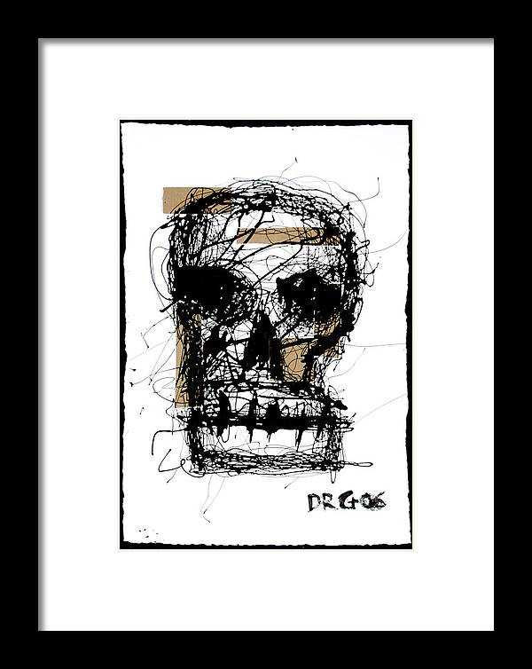 Abstract Framed Print featuring the painting Skull by Dmitry Gubin