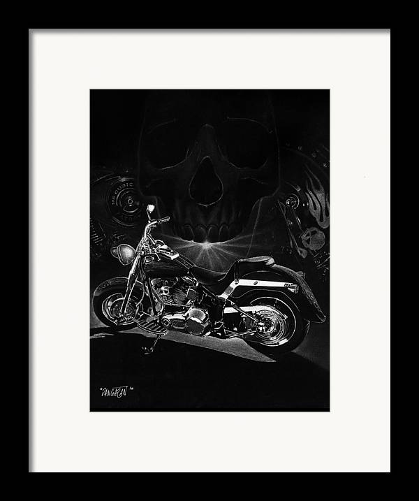 Pencil Illustration Framed Print featuring the drawing Skull Harley by Tim Dangaran