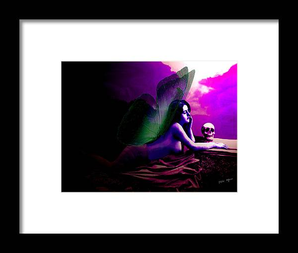 Skull Framed Print featuring the painting Skull Lady by Tray Mead