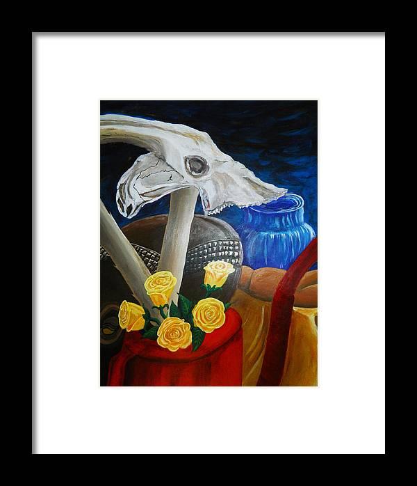 Skull Framed Print featuring the painting Skull by Samarpan Maharjan